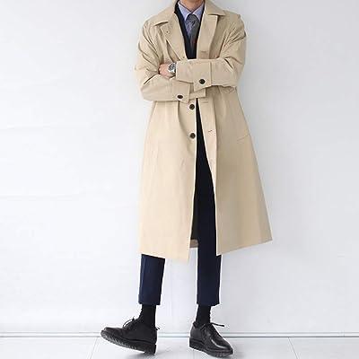 WEEN CHARM メンズ ジャケット コート カジュアル ビジネス 兼用 ロングコート 春 ステンカラー トレンチコート スプリングコート 無地 ロングジャケット ブラック カーキー