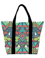 Snoogg DIAMOND FLORAL PATTERN Womens Large Shoulder Tote Bag