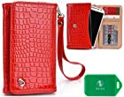 Tracfone ZTE Valet No-Contract Phone- Universal Ladies wristlet wallet in Red Plus bonus Neviss luggage tag