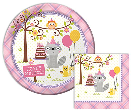 Happi Woodland Girl Happy Birthday Lunch Napkins & Dinner Plates Party Kit for 8