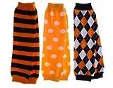 Jack's Halloween Baby Leg Warmers Set of 3 - Striped, Argyle, Polka Dot