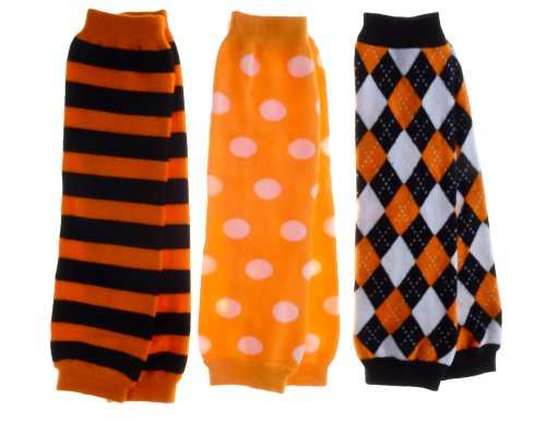 Baby Leg Warmers Set of 3 - Jack's Halloween Striped, Argyle, Polka Dot