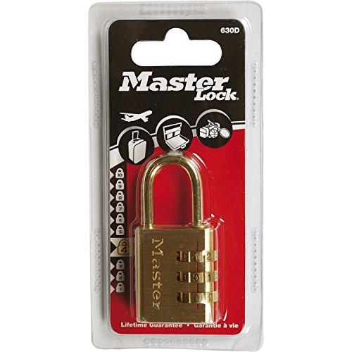 Master Lock 630EURD Lucchetto, Combinazione Programmabile a 3 Cifre, Alluminio, Finitura Ottonata, 30 mm