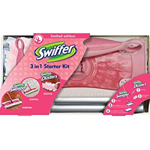 Swiffer 3 in 1 Sweeping Starter Kit +Duster +refills,Limited Pink Breast Cancer