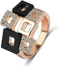 Comprar AnaZoz Joyería de Moda Anillo Cristal 18K Chapado en Oro Rosa Cristal Austria SWA Element Anillo Cuadrado