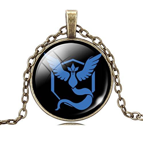 Collana Con Pendente a Catena Articuno Pendente Della Lega Azzurro Pietra Preziosa