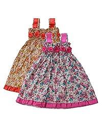RoopRahasya Girls' Cotton Designer Dress Frock_RDPN124_18M_Red & Pink