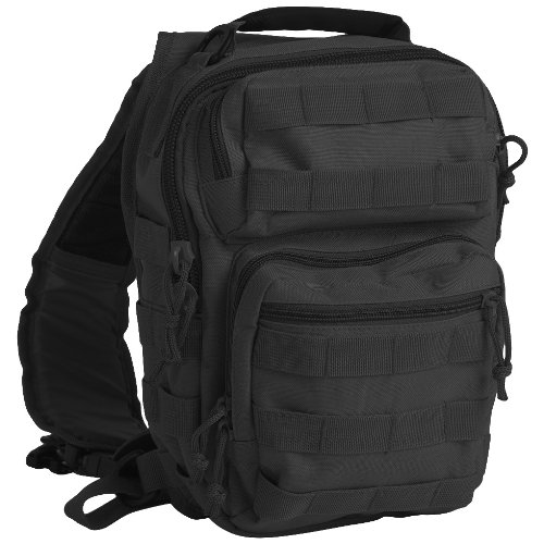 Police Assault Backpack One Strap Tactical Sling Small MOLLE Daypack Army Black