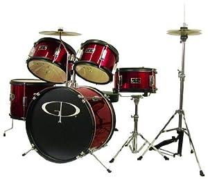GP55 Child Size Junior Drum Set with Seat, Sticks & Cymbals - Wine Red