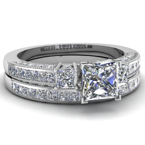 1.75 Ct Princess Cut 3 Three Stone Diamond Engagement