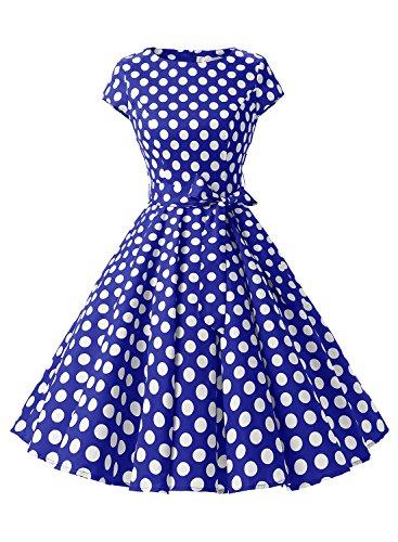 Dressystar - Vestido - para mujer Bleu saphir à pois rouge B XS