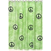 Lime Groovy Peace Sign Tie Dye Kids Bathroom Fabric Bath Shower Curtain by Sweet Jojo Designs