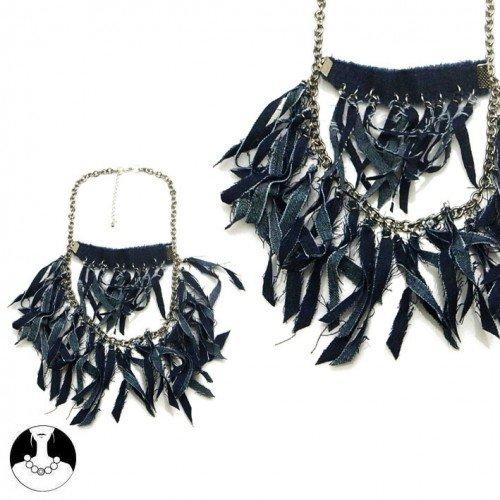 SG Paris Necklace 48cm + Ext Gun Metal Jean Bleu Combinaison Necklace Necklace Denim Summer Women Hippy Chic Fashion Jewelry / Hair Accessories Fringe and Tassel