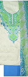 NAVRANG Women's Cotton Dress Material (NDT05, Green)