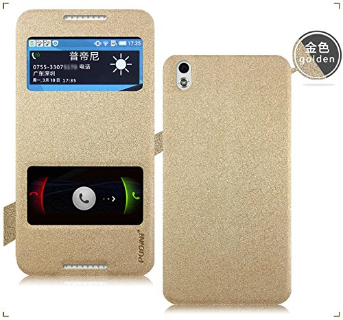 Original Pudini® Golden White Colour Double Window Flip Case For HTC Desire 816 & 816G With Free Clear Screen Guard