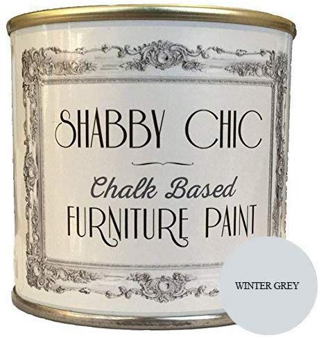 Shabby Chic Chalk Based Furniture Paint - Winter Grey 250ml - Chalked, Use on Wood, Stone, Brick, Metal , Plaster or Plastic, No Primer Needed, Made in the UK (Color: Winter Grey, Tamaño: 250ml)