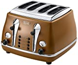 De'Longhi Vintage Icona Etnica CTOV4003.BW Toaster, 4-Slice - Tan Leather Brown