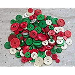 50 Green Red White , Assorted sizes, Christmas Button Mix Sewing Crafting Jewelry Collect