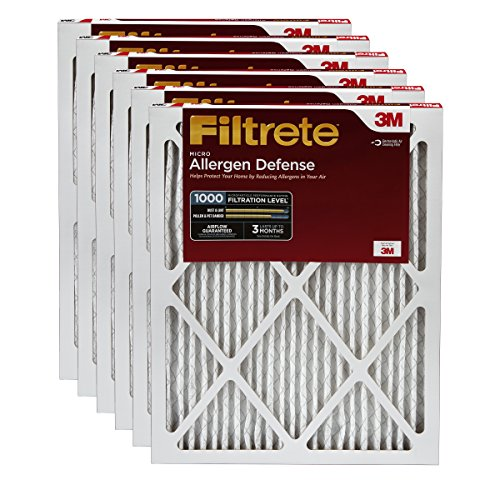 Filtrete Micro Allergen Defense Filter, MPR 1000, 20 x 25 x 1-Inches, 6-Pack