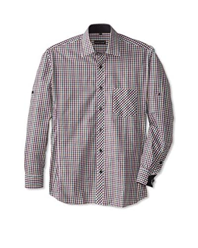 Jared Lang Men's Gingham Sport Shirt with Contrast Trims