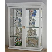 """DisplayGifts SOLID WOOD Tuscan Style Wall Curio Cabinet, Stand or Wall Mount, 19.75"""" W X 26"""" H X 7"""" D, WHITE"""