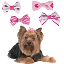 Aria Polycotton Ribbon Pretty In Pink Dog Bow Canister 48-Pack