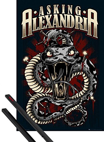 Poster + Sospensione : Asking Alexandria Poster Stampa (91x61 cm) Stand Up And Scream, Serpente E Coppia Di Barre Porta Poster Nere 1art1®