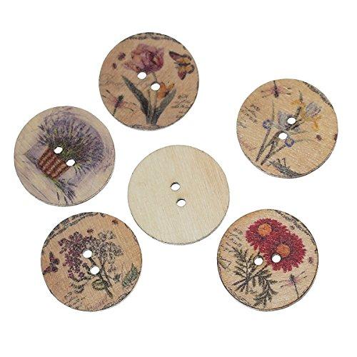 souarts-misto-casuale-pulsante-rotondo-2-fori-in-legno-motivo-floreale-confezione-da-100-pezzi