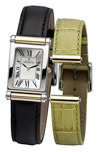 Michel Herbelin Antares Interchangeable Women's Quartz Watch with Silver Dial Analogue Display and Black Leather Strap COF17448/T01NV