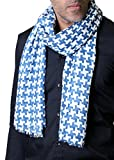 Men's Classic White Blue Houndstooth Scarf