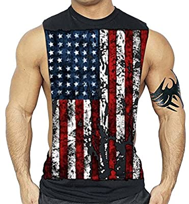 American Flag Muscle Workout T-Shirt Bodybuilding Tank Top XS-3XL