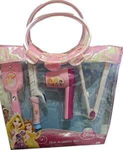Disney Princess Hair Accessory Tote. Battery Operated Hair Dryer, Pretend Cur