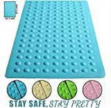 Luxury Anti Slip Suction Bath Mat – Non Slip Mats for Tub & Shower Bathroom Safety – Latex & PVC Free Natural Rubber – 15.7″ x 27.5″ – Ideal for Homes, Hotels, Gyms & Long-Term Care Facilities (Blue) Reviews