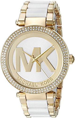 Michael Kors Da Donna Oro tono bracciale in acciaio e quadrante orologio analogico quarzo bianco mk6313