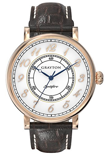 Grayton Spitfire Men's Quartz Watch with White Dial Analogue Display and Brown Leather Strap GR-0014-001.2