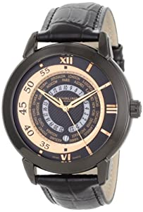 Stuhrling Original Men's 118B.335541 Classic World Traveler Swiss Quartz Black Dial Watch