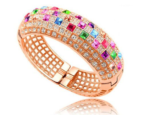 Ninabox ® The Queen Collection [TQC] -- The Queen. Swarovski Bangle Bracelet, Design By Nina Sun. 18K Rose Gold Plated Alloy Bangle Bracelet with Mutilcolored Swarovski Elements Crystal. Women's Fashion Party Jewelry. Diameter: 5.8 cm. BC00759
