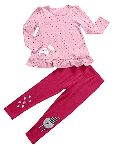 Aikobaby Neonate sveglie puntini di Polka Abito A Maniche Outfits 2 Pezzo T-shirt Tops & legging i pantaloni dei bambini che coprono gli insiemi (3 Anni, Rosa+rosso)