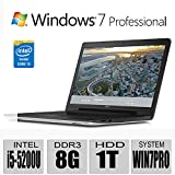 2015 Newest Model Dell Inspiron 5000 17.3-Inch Premium build HD+ 1600X900 Laptop - Newest 5th Generation Intel i5-5200U Processor 3M Cache up to 2.70 GHz - 8GB - 1TB HDD - Tray load DVD Drive - Bluetooth - Windows 7 Professional 64bit (includes Windows 8.1 Pro 64bit License and Media) - silver