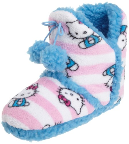 Hello Kitty Junior's Superplush Bootie with Pom Pom and Sherpa Stripe, White Stripe, Large