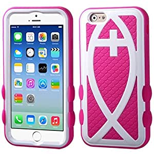 MyBat Hybrid Protector Cover foriPhone 6 - Retail Packaging - Ivory White/Hot Pink Fish