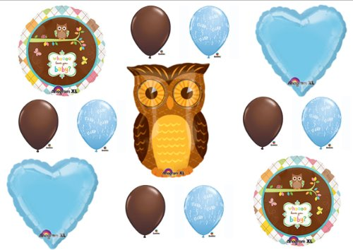 Baby Boy Owl Look Whooo Shower Balloons Decorations Supplies front-936174