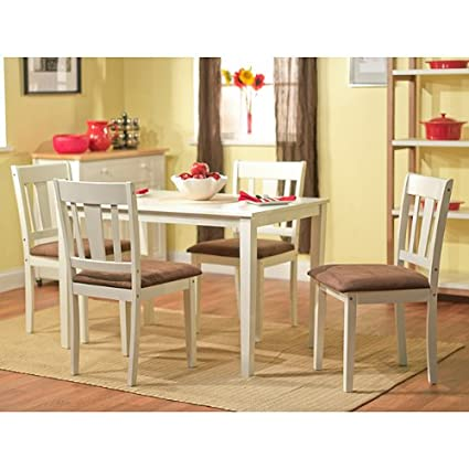 Brodrick White 5 Piece Dining Set, Rubber Wood Construction with Microsuede Upholstered Seats