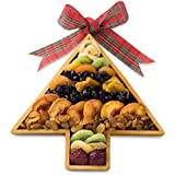 Happy Holidays, Merry Christmas Deluxe Assortment of Dried Fruit, in a Christmas Tree Wooden Tray,Healthy Gift Basket,Dried Fruit Gift
