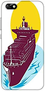 Snoogg Container Cargo Ship Designer Protective Back Case Cover For Huawei Ho...