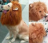 Looching 1Pcs Brown Lion Mane Costume Big Dog Lion Mane Wig Large Dog Costumes Wig Pet Festival Halloween Party Fancy Hair Clothes Dress with Ears(Neck Within 80 Cm,adjustable)