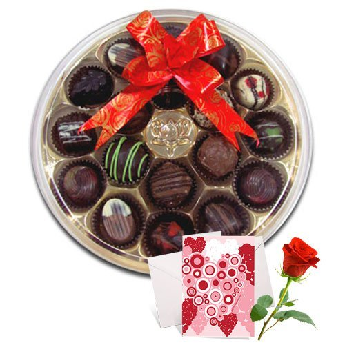 Valentine Chocholik's Belgium Chocolates - Artistry Collection Of Chocolates With Love Card And Rose