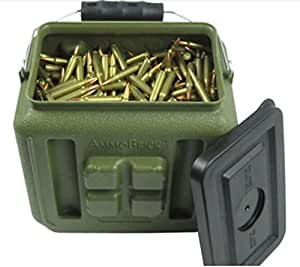 Stackable Ammo Storage Container- AmmoBrick 1.6 Gallon Portable Ammunition and Bullet Storage Solution - Maximize Your Readiness