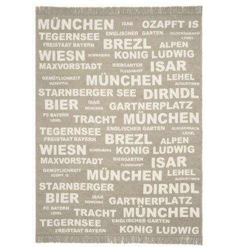 Kuscheldecke - Wohndecke München Bayern beige mit Fransen 150 x 200 cm
