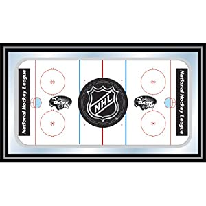 NHL Rink Mirror With NHL Shield Logo, White by Trademark
